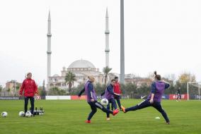 Предматчевая тренировка женской национальной сборной России в Турции