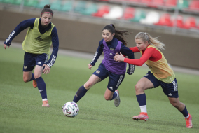Предматчевая тренировка женской национальной сборной России в Москве