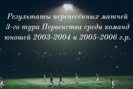 Результаты перенесённых матчей 3-го тура Первенства Ленинградской области