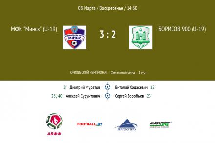 Минск(U-19) вырвал победу у  сверстников из Борисова