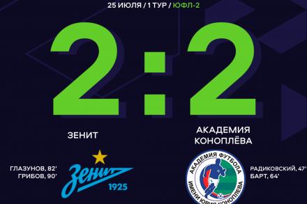 «Академия Коноплева» сыграла вничью с «Зенитом» на старте сезона