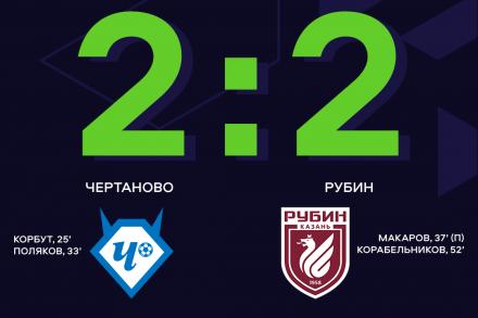«Чертаново»  и «Рубин» не выявили победителя в 7-м туре ЮФЛ-2