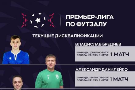Дисквалификации на матчи 5-го тура «Grandsport - Премьер-лиги по футзалу»