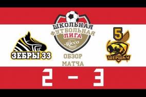 Школьная Футбольная Лига 2019.  Обзор матча  Зебры (33) vs Шершни (5). 2:3
