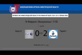 Первая лига 2019/20. Таркетт - Бюро К 2:0