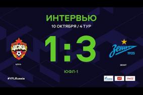 ЦСКА - «Зенит». Интервью | 4 тур | ЮФЛ-1 2020/21