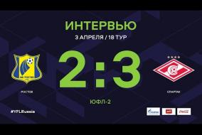 «Ростов» - «Спартак». Интервью. | 18 тур | ЮФЛ-2 2020/21