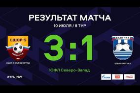 СШОР-5 Калининград – ЦПМФ Балтика. Обзор матча | 8 тур | ЮФЛ СЗ
