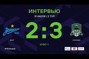 ЮФЛ-1. Зенит (Санкт-Петербург) - Краснодар. 2-й тур. Интервью