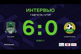 ЮФЛ-1. Краснодар - Академия Кубань. 3-й тур. Интервью
