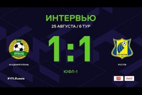 ЮФЛ-1. Академия футбола Кубань - Ростов. 6-й тур. Интервью