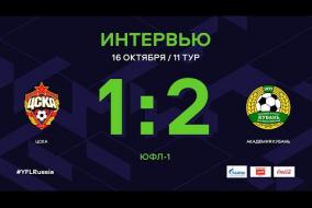 ЮФЛ-1. ЦСКА - Академия Кубань. 11-й тур. Интервью