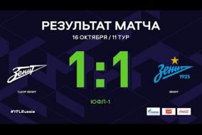 ЮФЛ-1. СШОР Зенит - Зенит. 11-й тур. Обзор